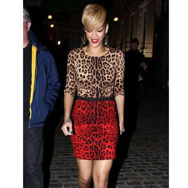 RiRi hit the town in Ireland in 2010 wearing two Dolce & Gabbana animal prints—why stop at one?