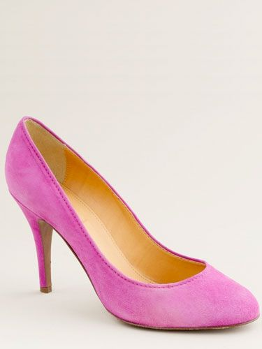 "Mona Suede Pump, $198, <a href=""http://www.jcrew.com/womens_category/shoes/pumpsheels/PRDOVR~47288/47288.jsp""target=""_blank"">jcrew.com</a>"