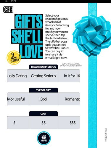Great news: You guys loved this feature so much, we're running it every issue. Cosmo editors have hand-selected 27 gifts guaranteed to woo any woman. Tailor your present to how long you've been dating, the mood you want to set, and the amount of money you want to spend—and our gift guide does the rest. Picking out stuff for your girlfriend has never been this easy.