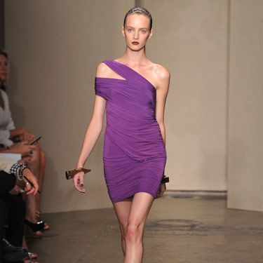 This dress is pure man bait: It's body-hugging, shoulder-baring and the color is eye-catching.