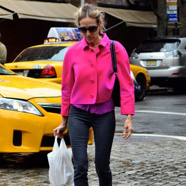 Jewel tones are a huge trend this season, and we love the way Sarah Jessica Parker layered hot pink over bold purple.