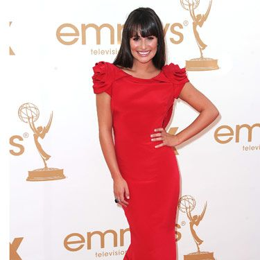Lea Michele couldn't stop smiling in this bold-hued Marchesa dress.
