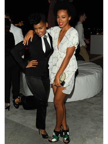 The singer and Beyonce's little sister hung out at a Ferrari party in matching black and white.