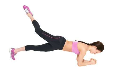 <b>Step 2:</b> Lift your right leg higher than your butt. That's one rep; do 20, and change sides.