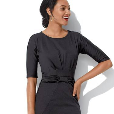 A little black dress is always a good choice. To keep it from being too boring, look for one with some interesting details—like the pockets and bow accent here. Make sure it's not too clingy but still shows off your bod.