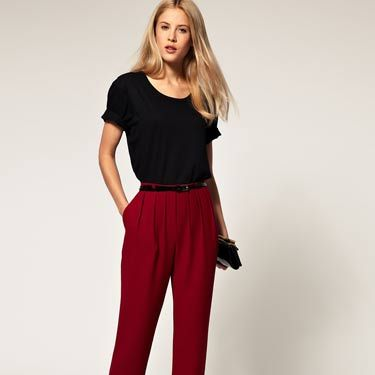 """Opt for a trendy pair of pants in a pretty fall color—stay away from jeans or leggings. It's always better to be overdressed than underdressed. <br /><br />ASOS Peg Pant with Pleated Front, $62.90, <a href=""""http://us.asos.com/ASOS%20Peg%20Pant%20with%20Pleated%20Front/x1m5p/?iid=1774368&cid=2640&sh=0&pge=0&pgesize=20&sort=-1&clr=Persian+red&mporgp=L0FTT1MvQVNPUy1QZWctVHJvdXNlci13aXRoLVBsZWF0ZWQtRnJvbnQvUHJvZC8.""""target=""""_blank"""">us.asos.com</a>"""