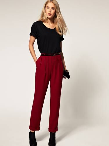 "Opt for a trendy pair of pants in a pretty fall color—stay away from jeans or leggings. It's always better to be overdressed than underdressed.  <br /><br /> ASOS Peg Pant with Pleated Front, $62.90, <a href=""http://us.asos.com/ASOS%20Peg%20Pant%20with%20Pleated%20Front/x1m5p/?iid=1774368&cid=2640&sh=0&pge=0&pgesize=20&sort=-1&clr=Persian+red&mporgp=L0FTT1MvQVNPUy1QZWctVHJvdXNlci13aXRoLVBsZWF0ZWQtRnJvbnQvUHJvZC8.""target=""_blank"">us.asos.com</a>"
