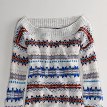 """Highlight your collar bones with a shoulder-baring cut.<br /><br />AE Fair Isle Off-Shoulder Sweater, $49.50, <a href=""""http://www.ae.com/web/browse/product.jsp?productId=0341_6484_150&catId=cat1410002&bundleCatId=cat4900031""""target=""""_blank"""">ae.com</a>"""