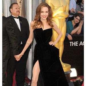 Angelina stunned in this geometric Atelier Versace gown.