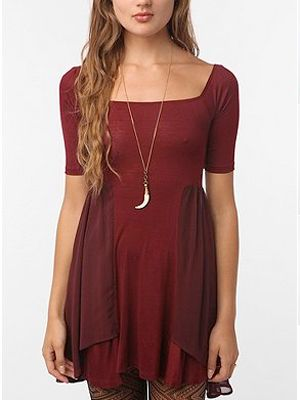 """If you have wider hips and are small on top, you can make a nod to this style without going all out. Try a dress like this offering from Urban Outfitters that features fluttering panels of silk at the hip, a less structured example of the trend.  <br /><br /> Urban Outfitters, $49 <a href=""""http://www.urbanoutfitters.com/p-23596836-061.shtml"""" target=""""_blank"""">urbanoutfitters.com</a>"""