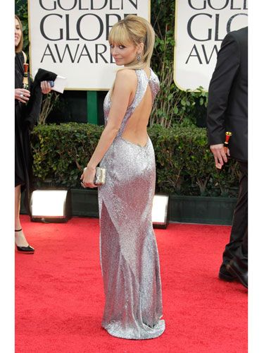 "<p>Metallics are so trendy right now, and Nicole Richie rocked the look flawlessly<span class=""st"">—</span>we especially love the open back.</p>"