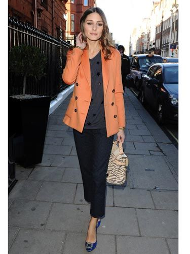 Socialite Olivia Palermo got the blues around New York City, brightening up an otherwise dull winter day.