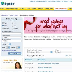 "Use <a href=""http://www.expedia.com/daily/promos/deals/holiday_weekend/valentines_day/default.asp?mcicid=deal.drop_valentines11"" target=""_blank"">Expedia.com</a> to pick up the tab for a sexy last-minute trip with your guy. With hotel prices as low as $44 a night, you can plan a romantic getaway or an awesome date night in your hometown.