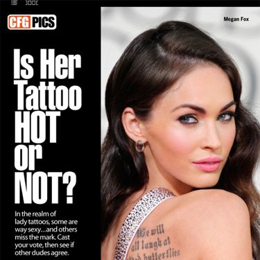 "Nearly everywhere you look, you see hot guys baring tats. But when it comes to lady tattoos, some are way sexy… and others miss the mark. We've rounded up 11 pics of celebrity women sporting some permanent body art. <a href=""http://itunes.apple.com/us/app/cfg-cosmo-for-guys/id433288349?mt=8"" target=""_blank"">Download the app</a>, and you can cast your vote on whether you think the ink is hot or not."