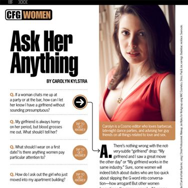 Sexy Cosmo editor Carolyn Kylstra gives no-nonsense advice to your most pressing questions. This month, see what she has to say about reviving the spark in a marriage, asking out your new neighbor, vibrator sex, and more.
