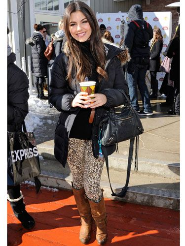 <i>The First Time</i> star Victoria Justice flaunted these leopard print leggings flawlessly. Her neutral pairings and chic brown boots kept the pants from being too loud... yet they still made a statement.