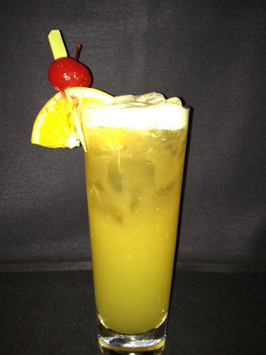 <i>2 oz. Bacardi Light Rum<br />                                      2 oz. passion fruit syrup (You can find it at your local liquor store)<br />                                      2 oz. lemon-lime soda<br /> 1 oz. lime juice<br /> 1 oz. Bacardi Gold Rum<br />                                    Garnish: orange slice and cherry<br /><br /></i>                  Combine Bacardi Light Rum, passion fruit syrup, lemon-lime soda and lime juice in a shaker filled with ice. Shake well and pour mixture into a high ball glass. Top off with Bacardi Gold Rum, and garnish with an orange slice and cherry.  <br /><br /><i>Source: Renaissance Hotels</i>