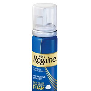 """<b>How to deal:</b><br /><br />If you're thinning at the crown (and not ready'or willing'to go shaved á la Jason Statham), get Rogaine. While not a guaranteed cure, it's the only FDA-approved hair grower, so it's worth a try. To see results, use it twice a day for four months. For fuller-looking hair, use a golf ballsize drop of mousse, then blow-dry using your fingers as a brush, says Fugate.<br /><br />  Men's Rogaine Unscented Foam, $30 <a href=""""http://www.drugstore.com/mens-rogaine-extra-strength-5-minoxidil-topical-foam-hair-regrowth-treatment-1-month-supply-2-11-oz/qxp157856?catid=97965&fromsrch=Men%27s+Rogaine+Unscented+Foam"""" target=""""_blank"""">drugstore.com</a>"""