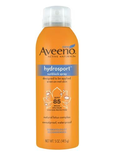 """If you're participating in any type of water-centric activity (sure, the <a href=""""http://www.cosmopolitan.com/advice/books/cosmo-aqua-kama-sutra"""">Aqua Sutra</a> counts!), then this is the sunscreen for you. You can spray it directly onto damp skin the second you hop back onto the boat—no towel required—and it will absorb. Plus, we love the sporty orange bottle. <br /><br />  Aveeno Hydrosport Sunblock Spray SPF85, $11.39, <a href=""""http://www.drugstore.com/products/prod.asp?pid=328498&catid=274389&aid=337953&aparam=aveeno_active_naturals_h&CAWELAID=780303182""""target=""""_blank"""">drugstore.com</a>"""