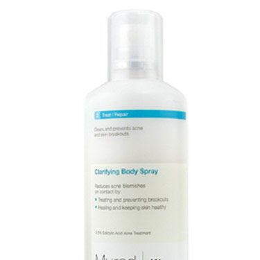 Obviously, the major problem with bacne is that it's hard to reach. The answer: a spray! You can mist on the medicine (this one contains retinol and salicylic acid) from any direction.  