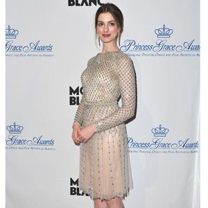 Long-sleeve dresses are crazy-popular this year. We especially love jeweled, sequined or beaded versions like Anne Hathaway's.