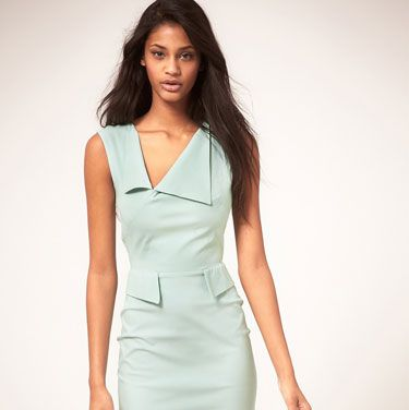 <p>We love this pencil-fit frock for its minty-fresh color and front peplum flaps, which make it more geometric than girly.</p>