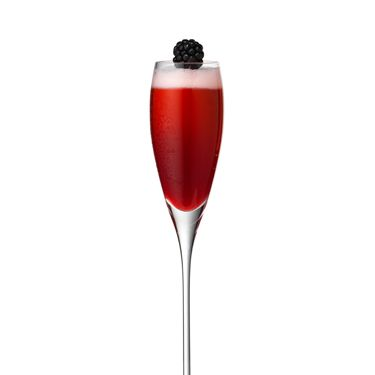 <i>½ oz. blackberry syrup<br />½ oz. lemon juice<br />Dash of Crème De Peche<br />3 oz. Chandon Blanc de Noirs<br />Garnish: blackberry<br /><br /></i>Pour all ingredients into a shaker filled with ice. Shake ingredients with ice and strain into a flute. Top with Chandon Blanc de Noirs. Garnish with a blackberry.