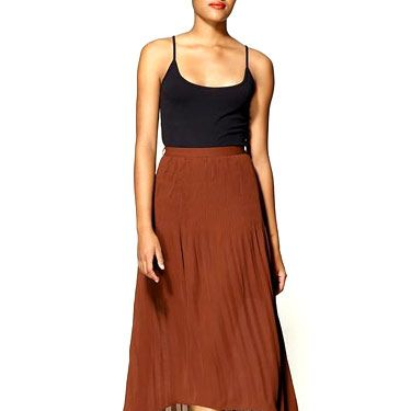 <p>The pleats and shorter front lend a date-worthy formalness to this pick. Loose and flowy, it'll be comfy for sitting, too.</p>