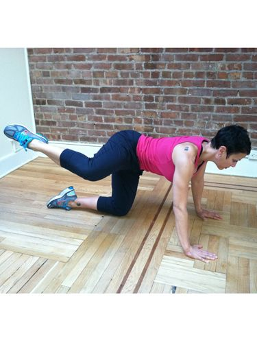 This exercise targets your glutes <i>and</i> hips. Start out on all fours, and keeping your right knee bent, lift it up to the side until it's parallel with your hips (like a dog peeing on a fire hydrant). Do this for 90 seconds on each side, and repeat this rotation three times.