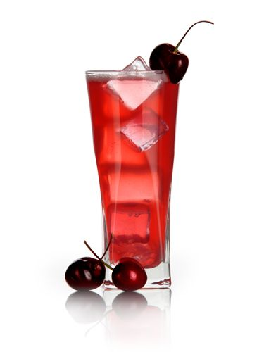 Add all ingredients except vodka into a mixing glass and muddle cherries. Add vodka and ice. Shake, and strain into a highball glass filled with ice. Top with sparkling water, and garnish with a whole, stem-on cherry.