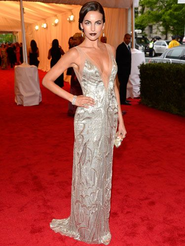 The actress wore a Ralph Lauren beaded silver gown.