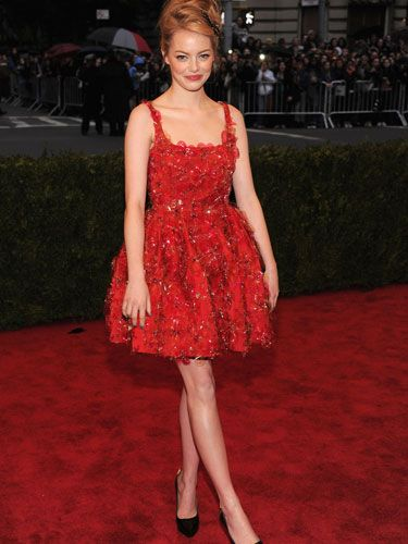 The actress wore a red Lanvin cocktail dress.
