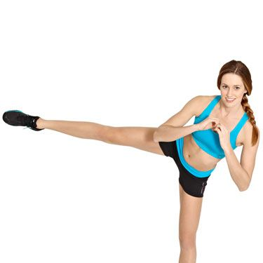 Start in a squat position, rise up, and kick your leg straight out to the side at hip level with your leg. Return to the squat position and kick with the opposite leg. Do 15 on each side.