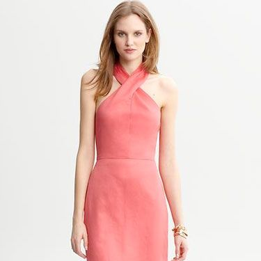 You can't go wrong with a coral when it comes to wedding attire. Pair it with nude heels to keep the focus up top. <br /><br />
