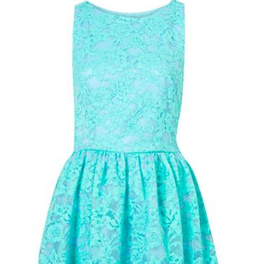 Going to a garden wedding but are stumped on what's appropriate? Stay sweet in lace, but amp it up with a color rather than neutral or white tones.<br /><br />Topshop Premium Bonded Lace Dress in Mint, $150.00, topshop.com.