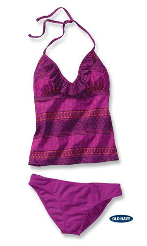"""<p>Get the best of both worlds with this tantalizing tankini. Bohemian print halter top features an ultra-flattering, curve-enhancing ruffle trim. Pair with a solid bottom in neon Posh Purple to complete the look. <br /> <br /> <strong>All Swim on Sale 6/14 - 6/27</strong> <br /> <a href=""""http://ad.doubleclick.net/clk;258524348;82746877;d?http://oldnavy.gap.com/browse/category.do?cid=5402"""" target=""""_blank"""">Check out this season's trendiest swimsuit styles!</a></p>"""