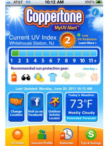 "Plug in your zip code, and this app sends back the current UV level for your area, the weather forecast, and advice on what to wear and do to protect yourself appropriately. There's also a reminder alert you can activate that tells you when it's time to reapply sunscreen.<br /><br />  <a href=""http://itunes.apple.com/us/app/coppertone-myuvalert/id380035439?mt=8"" target=""_blank"">iTunes Store</a>, Free"