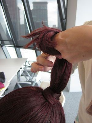 Brown, Hairstyle, Red, Purple, Style, Magenta, Hair coloring, Hair accessory, Red hair, Long hair,