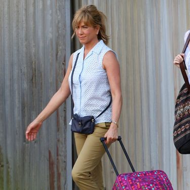 "Jennifer Aniston lost her usual glam style and donned khaki capris for her role as a hooker-turned-hired ""wife"" in <i>We're the Millers</i>."