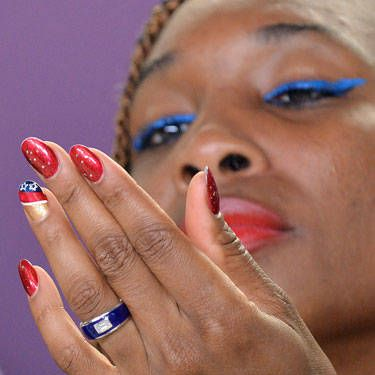 Tennis legend Venus Williams is proof that you can rock your favorite glitzy holiday polishes right now—just add a cool accent nail to make them feel right for summer.