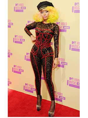 A cop hat and a lingerie-looking bodysuit? We weren't surprised to see Nicki Minaj stroll down the red carpet in this outfit. Either way, we love Nicki's fun, fearless attitude.