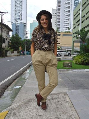 """<p>The mix of animal print blouses, high-waist trousers and oxford booties gives this retro look a mod twist. Llana. </p> <p>Debbie K, blogger and photographer, <a href=""""http://panamastreetstyle.com/"""" target=""""_blank"""">Panama Street Style</a></p>"""