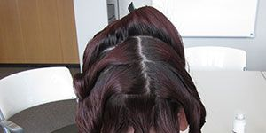 Brown, Textile, Style, Long hair, Liver, Back, Artificial hair integrations, Hair coloring, Hair accessory, Plastic bottle,