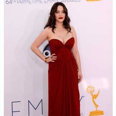<i>2 Broke Girls</i> star Kat Dennings showed off sexy cleavage in J. Mendel.