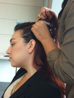 <p>Braid the left part in a French braid style, working your way down all the way to the bottom.</p>