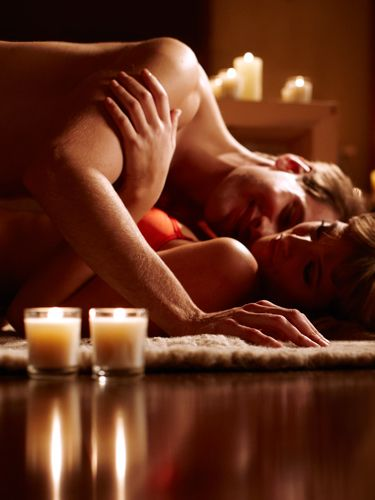 Setting the mood is key here, so turn off your overhead and light a bunch of candles around your bedroom. Think: Just enough to cast a sexy glow on your and your man, but not so much that your room is bright.