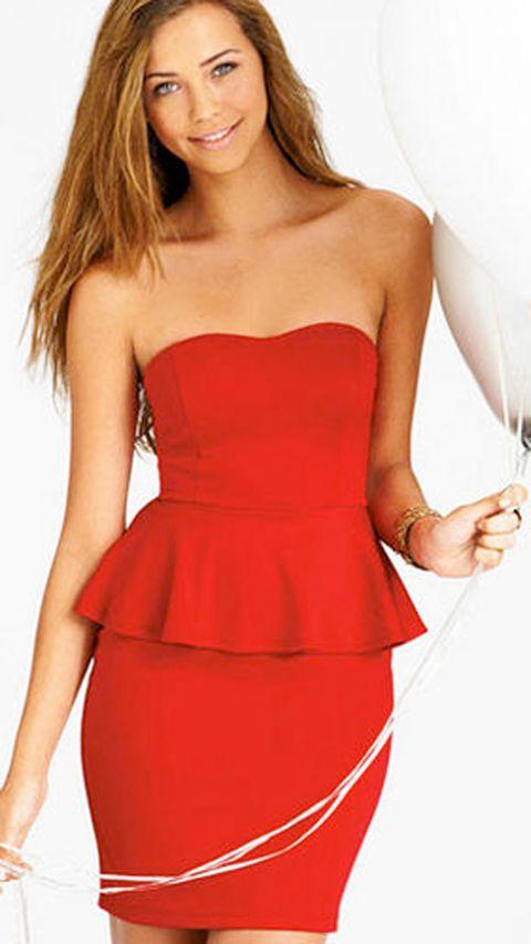 Finger, Hairstyle, Dress, Shoulder, Strapless dress, Waist, Joint, Red, One-piece garment, Cocktail dress,