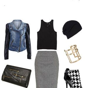 <div>Knee-length skirts don't have to be stuffy and boring.  Contrast the longer length and higher waist with a racy cropped tank and show-stopping booties.  A leather-sleeved moto style jacket and a slouchy beanie further downplay the seriousness of the skirt and give the look a rock and roll vibe that's equal parts sophisticated and sexy! </div>