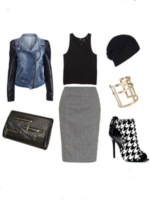 """<div>Knee-length skirts don't have to be stuffy and boring.  Contrast the longer length and higher waist with a racy cropped tank and show-stopping booties.  A leather-sleeved moto style jacket and a slouchy beanie further downplay the seriousness of the skirt and give the look a rock and roll vibe that's equal parts sophisticated and sexy! </div> <div><strong><br /> </strong></div> <div><a href=""""http://www.romwe.com/leather-sleeve-blue-denim-coatfont-stylecolorredhalloween-sale-on-oct26thfont-p-46731.html"""" target=""""_blank"""">Jacket</a>, $71.77</div> <div><a href=""""http://www.ksubi.com/collections/mens-fashion/products/trashed-basic-tank%20%20"""" target=""""_blank"""">Tank</a>, $70 </div> <div><a href=""""http://www.us.allsaints.com/women/uncategorised/allsaints-paradise-rib-beanie/?colour=107&category=660&partner=linkshare&WT.mc_id=20000000&siteID=Hy3bqNL2jtQ-_JdpDjEv._b5P6IJuuBLiA"""" target=""""_blank"""">Beanie</a>, $30</div> <div><a href=""""http://us.asos.com/countryid/2/ASOS-Cross-Cage-Cuff/ymoou/?iid=2450384&MID=35719&affid=2135&WT.tsrc=Affiliate&siteID=Hy3bqNL2jtQ-flAOILDlg_kOIaiXfptTHg%20%20"""" target=""""_blank"""">Cuff</a>, $17.59 </div> <div><a href=""""http://www.heels.com/womens-shoes/lexington-black-houndstooth.html?utm_medium=affiliate&utm_campaign=affiliate&utm_source=aff_id&atrack=cj"""" target=""""_blank"""">Booties</a>, $144.99</div> <div><a href=""""http://us.monsoon.co.uk/view/product/us_catalog/mon_6,mon_6.2/2130142808?skipRedirection=true&utm_campaign=uk-affiliates&utm_medium=affiliates&utm_source=linkshare&utm_content=uk-affiliates&siteID=Hy3bqNL2jtQ-78ghfFhpq_EnHIHYacaBQQ&cm_mmc=linkshare-_-linkbuilder-_-linkbuilder-_-linkbuilder"""" target=""""_blank"""">Skirt</a>, $96</div> <div><a href=""""%20http://us.topshop.com/webapp/wcs/stores/servlet/ProductDisplay?catalogId=33060&storeId=13052&productId=7238560&langId=-1&siteID=Hy3bqNL2jtQ-ZZ1xRSUWM4G3vuWJXD3JsQ&cmpid=aff_ls_tsus&_$ja=tsid:21416