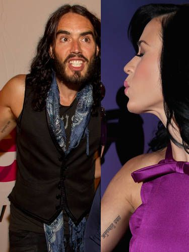 """Katy Perry and Russell Brand have matching sanskrit ink on their inner biceps that means """"go with the flow."""" Their marriage lasted 14 months."""